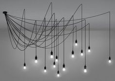 Suspension Maman Dimmable / 14 ampoules LED incluses - Compatible variateur Ampoules transparentes / Câbles noirs - Seletti