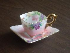 Japanese Tea Cups And Saucers   Vintage 1940s Square Tea Cup and Saucer Occupied Japan by russnmt by beth