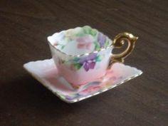 Xícaras de chá japonês e Pires |  Vintage 1940 quadrado do copo de chá e pires Japão ocupado por russnmt por beth