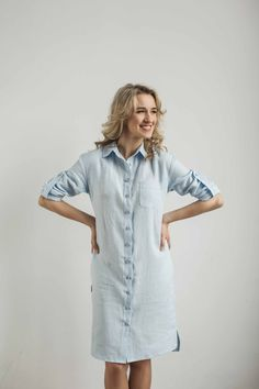 Linen shirt dress. Tailor made by CozyBlue, Lithuania.