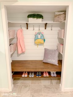 Check out this Step-By-Step Guide to the Ultimate Closet Makeover - Transform your boring closet into a shabby chic entryway nook. #ShabbyChic #ClosetMakeover #ClosetNook #ShiplapCloset #ClosetBench #EntrywayNook Closet Bench, Front Hall Closet, Closet Nook, Closet Redo, Hallway Closet, Closet Remodel, Closet Makeovers, Mudroom In Closet, Shabby Chic Entryway