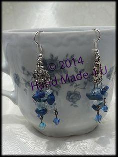 Blue and Silver Chandelier Earrings- Lapis Lazuli and Blue Topaz Earrings- Gemstone Earrings- Celtic Earrings by KraftyHeadquarters on Etsy