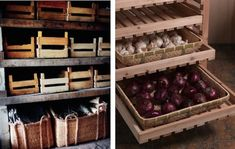 Storing vegetables and fruits in containers that allow air to circulate from top to bottom. Root Cellar Storage Baskets, Gardenista