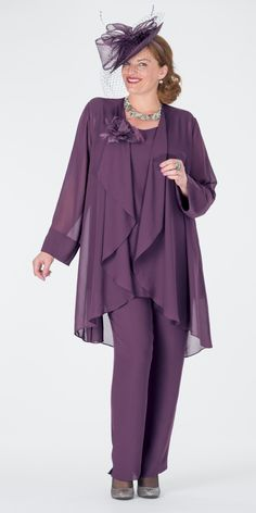 Box 2 aubergine chiffon jacket, vest and trouser