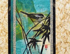 Japanese Bird Abstract Ink Nature Painting, FALL SALE, Contemporary 11x14  Paper Tapestry Collage Art by artist Lynn Gobble by LynnGobbleDesigns on Etsy