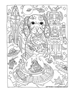 "Creative Haven Dazzling Dogs Coloring Book by Marjorie Sarnat, ""Space Doggie"""