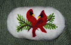 Items similar to Felted Soap Cardinal On Pine, Handmade, Redbird, Lavender Soap on Etsy Christmas Soap, Felt Christmas, Free Hand Designs, Felted Soap, Felt Books, Lavender Soap, Soap Packaging, Needle Felting, Wool Felting