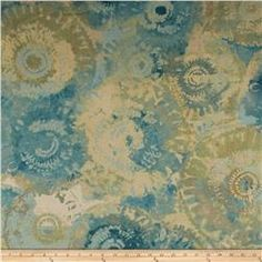 Contempo Hand Made Faux Linen Sun Circles Light Turquoise