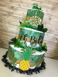 Tropical Baby Shower Centerpiece, Tropical Baby Shower Decorations, Aloha Baby by AllDiaperCakes on Deco Baby Shower, Shower Bebe, Baby Shower Diapers, Baby Boy Shower, Baby Shower Gifts, Baby Shower Jungle, Safari Baby Shower Cake, Hawaiian Baby Showers, Luau Baby Showers