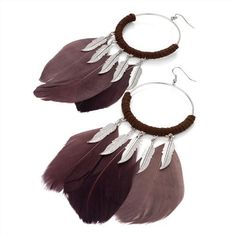 Minerva Collection Feather Drop Pierced Fashion Earrings Silver Brown http://www.minervacollection.com/Minerva-Collection-Feather-Pierced-Earrings/dp/B007P26T4C