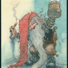 Cigar-smokin' and drinkin' gnome. Cute Fantasy Creatures, Magical Creatures, Illustrations, Illustration Art, Elves And Fairies, Winter Images, Mythological Creatures, Fairy Art, Fantasy Artwork