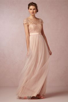 Royal Scoop Cap Sleeves Column Champagne Bodice With Lace Tiered Tulle Floor Length Bridesmaid Dress