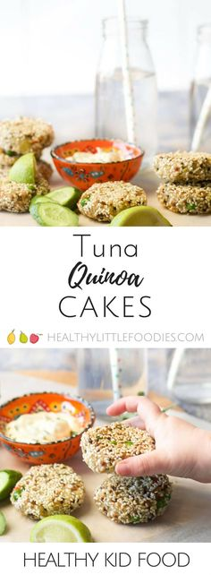 These tuna quinoa cakes are great as part of a main meal or can be popped into the lunch box the next day. #kidsfood #blw #babyledweaning #Glutenfree. #Dairyfree. #lunchbox