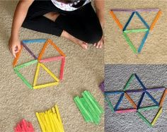 Craft stick fun How about ribbon through straws? Kids can make hanging shapes. Play Based Learning, Learning Centers, Fun Learning, Preschool Math, Kindergarten Math, Craft Stick Crafts, Craft Sticks, Diy For Kids, Crafts For Kids