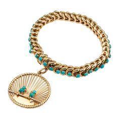 1960s Van Cleef & Arpels Turquoise Charm Bracelet | From a unique collection of vintage charm bracelets at http://www.1stdibs.com/jewelry/bracelets/charm-bracelets/
