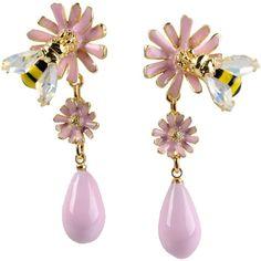 La Hormiga Earrings (53 KWD) ❤ liked on Polyvore featuring jewelry, earrings, light pink and earrings jewelry