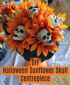 Dollar Tree Halloween Sunflower / Skull Centrepiece Dollar Tree Halloween Sunflower / Skull Centrepiece<br> This Halloween centrepiece is created using items from a discount store or Dollar Tree. Halloween Tattoo, Fall Halloween, Halloween Crafts, Halloween Skull, Holiday Crafts, Halloween Table, Halloween 2020, Diy Halloween Jewelry, Halloween Inspo