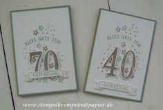 """Stempelkrempel mit Papier : Allerlei Geburtstagskarten mit dem Set """"So viele Jahre"""" und den Framelits Formen """"Große Zahlen"""""""