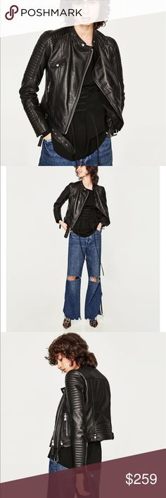 GORGEOUS NWT ZARA 100% SHEEP LEATHER BLACK JACKET New with tags. You'll love it! Zara Jackets & Coats