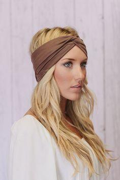Turban Headbands Cafe Brown Stretchy Workout Hair by ThreeBirdNest