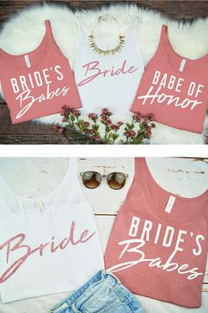 Bachelorette Party Tank Tops - Bachelorette Party Favors - Bride and Brides Babes Tees - Bachelorette Party T-Shirts - Bridesmaids Gift - Bridal Shower Ideas - Rose Gold Bachelorette Party - Pool Party - Festival Bachelorette Party #weddings #bachelorette #bacheloretteparty #bacheloretteparties #bridalshowers #bridesmaids #weddingdresses #bridesmaidsdresses