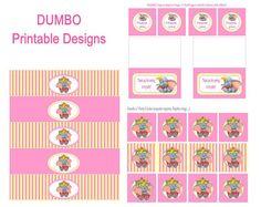 fichiers imprimables de cirque DUMBO Disney étiquettes de bouteille anniversaire fille parti eau, balises de faveur de Merci, cercles de cup...