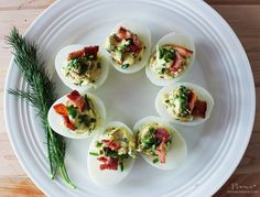 The Salt House Inn's Bacon, Chive & Dill Stuffed Eggs Appetizer Sandwiches, Cheese Appetizers, Appetizer Recipes, Stuffed Eggs, Great Recipes, Favorite Recipes, Cooking Recipes, Healthy Recipes, Appetisers