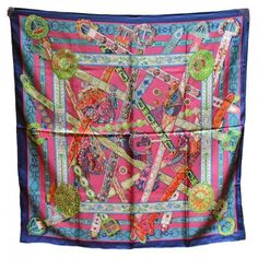 """Stunning Hermes """"Le Songe de la Licorne"""" Silk Scarf : Lot 91. GORGEOUS Hermes le songe de la licorne silk scarf in excellent condition. Original silk screen design by Anne Faivre c2015. Limited edition design no longer available as a silk 90cm scarf making this a rare collectors piece. 100% silk, hand rolled hem, made in France, original tag attached. Measurements: 35""""x35"""" Hermes scarf box included."""