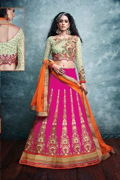 Pink Art Silk Bridal Lehenga