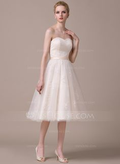 A-Line/Princess Sweetheart Knee-Length Satin Tulle Lace Wedding Dress With Ruffle (002058801) - JJsHouse