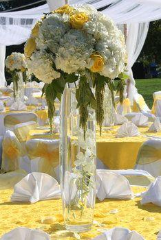 Wedding, Flowers, White, Centerpiece, Ceremony, Yellow