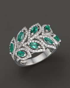 Emerald and Diamond Leaf Statement Ring in 14K White Gold | Bloomingdale's