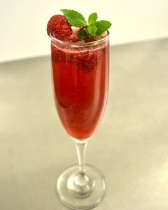 Raspberry Mint Rose Bellini Cocktail