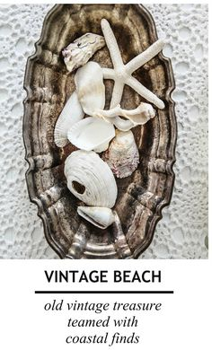 vintage beach cottage coastal decor - white crochet, old silver with shells, starfish and sea finds