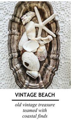 Beach Cottage Weekending : vintage treasure hunting tarnished dish full of beachy stuff
