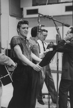 Elvis Presley in the recording studio, 1956