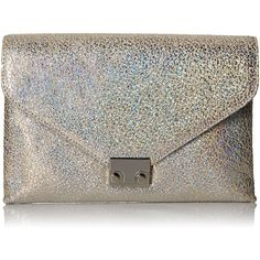 LOEFFLER RANDALL Lock Hologram Leather Clutch (915 BRL) ❤ liked on Polyvore featuring bags, handbags, clutches, real leather handbags, leather clutches, holographic crossbody, genuine leather purse and genuine leather crossbody handbags