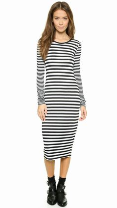 Modest black and white stripe dress with sleeves | Shop Mode-sty