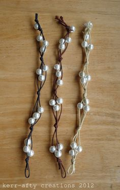 #DIY #PAP Easy Bracelet Tutorial - com fio encerado e pérolas - do blogue Kerr-afty Creations