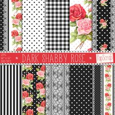 "Shabby chic digital paper : ""Dark Shabby Rose"" black digital paper withpink and red roses, gingham, polka dot and lace pattern, scrapbooking"