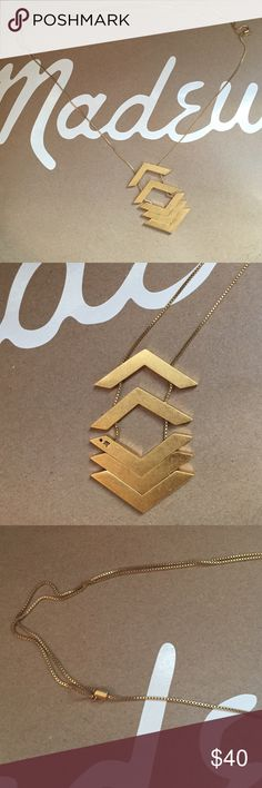 Madewell Arrowturn Necklace Worn once. Adjustable. Made of brass. Madewell Jewelry Necklaces