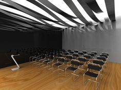 3d rendered room for presentation ribbon led lights and design chairs