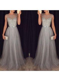 A-Linie U-Ausschnitt Bodenlang Tüll Abendkleider Ballkleider in Silber #SP8191
