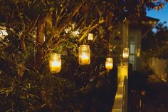 Candles in mason jars hanging from trees...Jay and I are all about candles and canning.