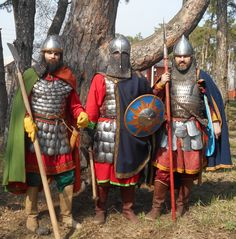 "Reconstruction armor warriors Russia 14th century. Researchgroup ""Хранители"""