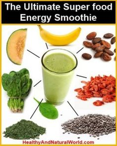 This chart shows superfoods like goji berry, chia seed, bee pollen, cacao, and spirulina. Great for smoothie recipes...healthy eating! #recipes #healthyeating #smoothie #breakfast