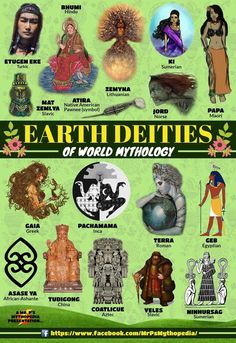 Earth Deities of World Mythology! World Mythology, Greek Mythology, Mythological Creatures, Mythical Creatures, Myths & Monsters, Legends And Myths, World Religions, Book Of Shadows, Gods And Goddesses
