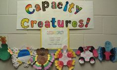 """""""Capacity Creatures""""   Each creature must include - 1 gallon, 4 quarts, 8 pints, and 16 cups. Made with Creative Teaching Press Poppin' Pattern letters."""