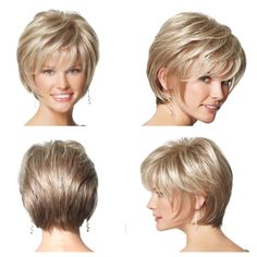 Four-sided view of short hair cut for thick hair