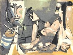 awesome 1991 Print of PIcasso's Artist and His Mannequin (1964)